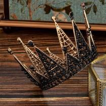 wedding photo - Vintage Black Wedding Crown//Black Crystal Wedding Crown//Bridal Crown//Birthday Party Crown//Photo Shoot Crown//Black Bridal Tiara
