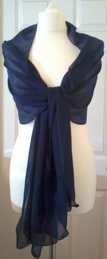 "wedding photo - NAVY BLUE long Evening wedding chiffon shawl, pashmina,wrap,scarf, stole-18""x78"" / 200cmX45cm"
