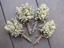 wedding photo - Dried Baby's Breath and Phalaries Boutonnieres, White Wedding Boutonniere, Mans Buttonhole, Boutonniere for Groomsman, Groom Boutonniere