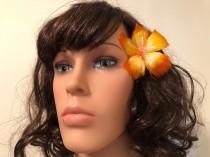wedding photo - Tropical Orange & Yellow Hibiscus Feather Flower Ear Pick,Wedding Jewels,Monarchy Jewels,Hawaiian Wear,Tahitian Wear,Hula Girl,Local Girl