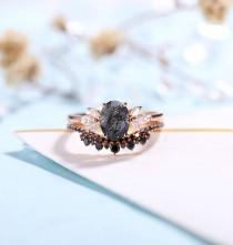 wedding photo - Vintage Black Rutilated Quartz  Engagement Ring Rose Gold