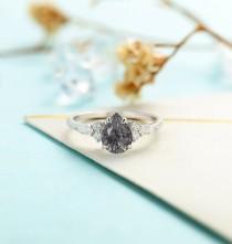 wedding photo - Vintage Black Rutilated Quartz engagement ring