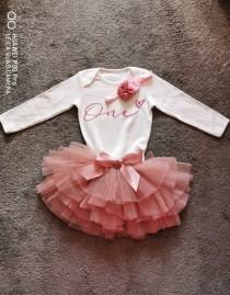 wedding photo - Tutu Personalised Cake smash baby girl One Birthday outfit, long sleeved baby, first birthday, dusky pink, 1st birthday,outfit, flower girl