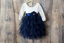 wedding photo - Navy Blue Tulle Tulle Flower Girl Dresses, White Lace Flower Girl Dress, Long Sleeve Boho Girls Dresses