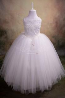 wedding photo - White Flower Girl Dress, First Communion Dress, Guipure Neckline Party Gown