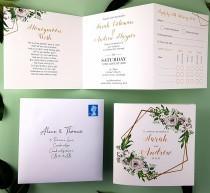 wedding photo - White Rose Gold Wedding Invitation Set - Tri-fold Wedding Invitations - Floral Wedding Invites