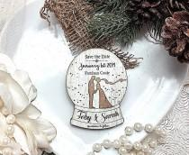 wedding photo - Wooden magnet save the date, Winter wedding , Change the date, Christmas wedding, Snowglobe save the date