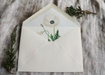 wedding photo - White Poppy Envelope Liners