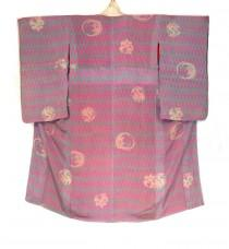 wedding photo - Vintage Japanese Kimono -  1960's Pink Arrowhead Crested Red Silk Lined Kimono