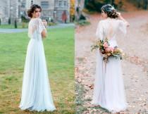 wedding photo - Lace wedding dress blue Victorian bridal gown vintage Tulle wedding dress A-line Illusion bridal gown 3D lace bridal dress Pale blue dress