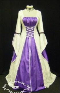 wedding photo - Medieval Dress in white with purple satin, handfasting
