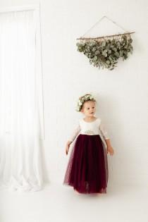 wedding photo - Wine Tulle Long Dresses, White Lace Flower Girl Dress, Burgundy Ball Gown, Floor Length Dresses