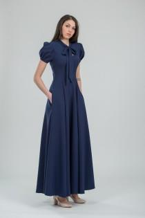 wedding photo - Chic navy formal gown Long blue bridesmaid dress Evening outfits for women Special occasion clothing – 50+ colors