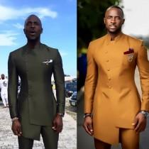 wedding photo - Men's wedding suit, African men's clothing, groomsmen suit, African men's wear,formal wedding men bespoke suit, African men's kaftan
