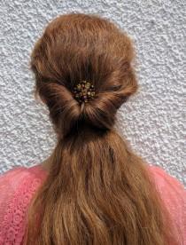 wedding photo - Amber Hair Comb Bridal Headpiece Wedding Hair Piece OOAK Bridal Pin Golden Brown Hair Medium Hair Stick Vintage Hair comb Topaz Hair Clip