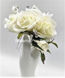 wedding photo - Wedding Headpiece, Bridal hair accessory, real touch roses, custom hair clip, silk flowers, bridal hair clip, Beach, Fascinator, headpiece