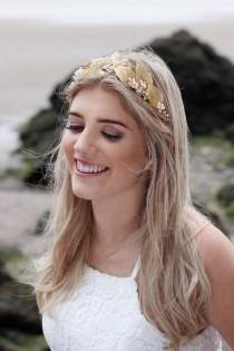 wedding photo - Gold leaf crown, gold bridal tiara, bridal flower crown, bridal headdress, bridal headband leaves, wedding hair vine, pearl hair vine
