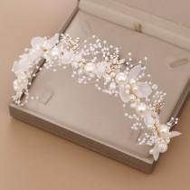 wedding photo - Bridal Flower Faux Pearl Crystal Hand-woven Golden Leaves Wedding Headband Hair Band Children's Hair Accessories