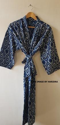 wedding photo - Blue and White Natural Dye Hand Block Printed Cotton Kimono, Womens Bath Robe, Indian Kimono Dress, Ladies Dress, Robe For Women, Beach Wear