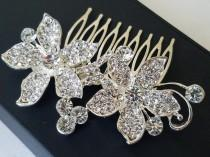wedding photo - Crystal Bridal Hair Comb, Orchid Crystal Wedding Comb, Floral Crystal Head Piece, Wedding Hair Jewelry, Crystal Silver Comb, Bridal Combs