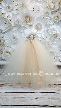 wedding photo - Ivory/Beige Tutu Dress-Ivory/Beige Flower Girl Tutu-Ivory/Beige Tutu Dress-Ivory/Beige Wedding Dress.Ivory/Beige Tutu