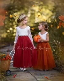 wedding photo - Burnt Orange Flower Girl Dress, Rust Flower Girl Dress, lace flower girl dress, Rustic flower girl dress, Boho Flower Girl Dress, Fall Dress