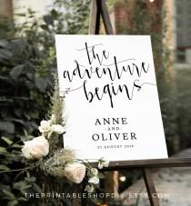 wedding photo - Adventure wedding sign, alternative wedding signs, welcome to our wedding, wedding welcome sign, rustic wedding, rustic wedding sign