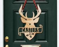 wedding photo - Antlers Door Hanger, Christmas Decor, Christmas Decorations, Holiday Decor, Farmhouse Christmas, Rustic Christmas, Holiday Door Hanger