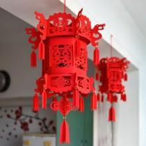 wedding photo - Chinese wedding double happiness 3D lantern, felt lantern, Wedding decor, DIY wedding, DIY kit, wedding decorations, wedding reception