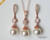 wedding photo - Rose Gold Bridal Pearl Jewelry Set, Swarovski White Pearl Earrings&Necklace Set, Wedding Rose Gold Jewelry, Bridesmaids Pink Gold Jewelry
