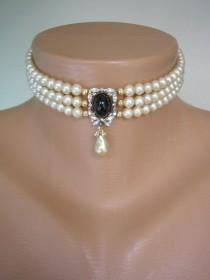 wedding photo - Vintage Pearl Choker, Attwood and Sawyer Jewelry, Pearl Choker With Black Pendant, Indian Bridal Jewelry, Bridal Choker, Evening Jewellery