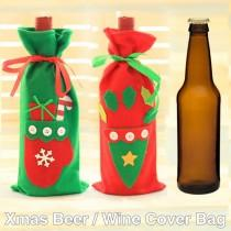 wedding photo - #beterwedding Red Wine Bottle Cover Bags Santa Summer Party doorgift HH105