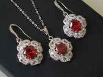 wedding photo - Red Crystal Bridal Jewelry Set, Red Oval Halo Cubic Zirconia Set, Red Earrings Necklace Set, Wedding Red Silver Earrings Red Crystal Pendant
