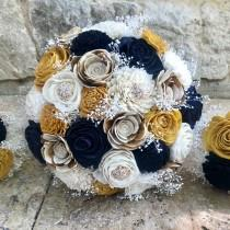 wedding photo - Navy, Gold, Ivory, Wedding Bouquet, Sola Wood Flower Bouquet, Dried Flowers , Brooches Bouquet