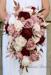 wedding photo - Cascade Bridal Bouquet, Wine, rose Gold, Dusty rose Bouquet, Bridal Flowers, Custom Wedding Package, Blush and Ivory Bouquet