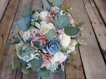 wedding photo - Slate Blue Blush Pink and Cream Wood Flower Bouquet with Silver Dollar Eucalyptus bridal bridesmaid flower girl