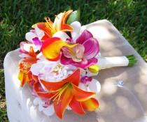 wedding photo - Tropical Wedding Bouquet - Lilies, Callas, Orchids and Peonies Silk Wedding Bouquet  - Orange and Fuchsia Natural Touch Bride Bouquet