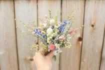 wedding photo - Mini dried flowers bouquet Centerpieces / Wedding Table Decoration flowers / Dried flower bunches / Custom color available