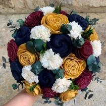 wedding photo - Burgundy , Navy and Gold Wedding Bouquet, Brida Bouquet, Sola Wood Flower Bouquet