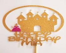 """wedding photo - Personalized Custom Cake topper for Birthday with Princess and Castle images. Standard size 7.5""""W x 5""""H"""