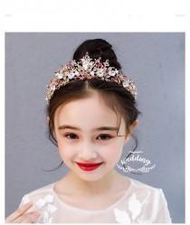wedding photo - Childrens Gold/Pink Flowergirl Tiara-Flowergirl Hair Accessories-Bridesmaids Gold Headpiece-Girls wedding Headwear-Childrens Tiaras Pink