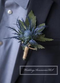 wedding photo - Thistle Boutonniere, Blue Thistle Boutonniere, Purple Thistle Boutonniere, Rustic Wedding, Scottish Thistle, Winter Boutonniere, Artificial
