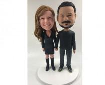 wedding photo - Handmade Custom Perfect Match Bobblehead Happy companion Gift 100% Handmade Polymer Clay Bobbleheads Cake Toppers