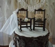 wedding photo - country-wedding-rocking chair-barn-rustic-cake topper-bride-groom-fall wedding-woodland-Mr-Mrs-wood-sign-country bride-ivory veil-western