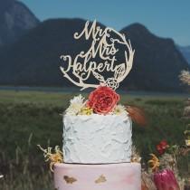 wedding photo - Woodland Mr and Mrs Cake Topper, Rustic and Boho Wedding Decor