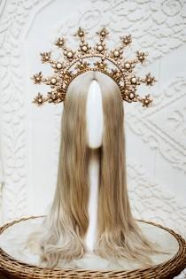 wedding photo - Gold Halo crown, Glitter Halo Headpiece, Festival crown, Boho Wedding, Met Gala Crown, Wedding Crown, Zip Tie Crown, Mary Crown, Boho Crown