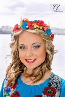 wedding photo - Rustic wedding Flower crown Red Blue Yellow Bridal headband Hair piece Floral crown Boho Woodland Halo headpiece Bridesmaid Flower girl