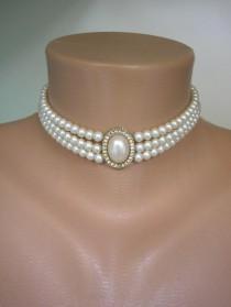 wedding photo - Vintage Pearl Choker, 3 Strand Pearl Choker, Bridal Pearls, Vintage Pearls, Ivory Pearls, Edwardian Style Choker, Lightweight Pearls