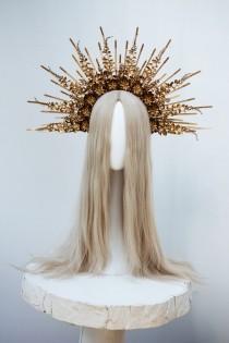 wedding photo - Gold Halo crown, Glitter Halo Headpiece, Festival crown, Festival headpiece, Met Gala Crown, Sunburst Crown, Gold Zip Tie Crown, Mary Crown