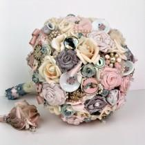 wedding photo - Tea Party Alice Vintage Wedding Bridal Bouquet Pink Rose Bouquet Fabric Flowers Dusty Blue and Ivory Wedding Bouquet Brooch Bouquet Keepsake